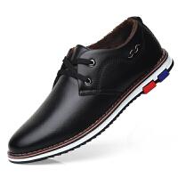 休闲皮鞋男冬季加绒保暖男鞋软底韩版百搭青年鞋子男士英伦小皮鞋 1758 黑色 加绒款