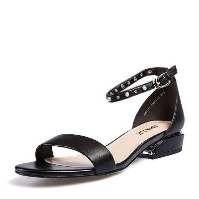 Belle/百丽2018夏季新款专柜同款油皮绵羊皮革女凉鞋BWC31BL8