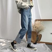 高腰牛仔裤女韩版学生复古拼接撞色秋冬百搭直筒裤九分裤阔腿裤