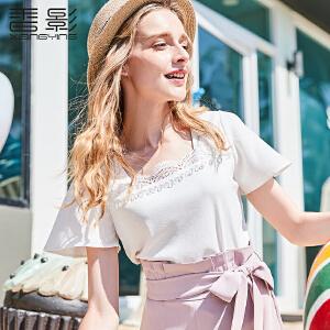 短袖t恤女香影2018夏装新款时尚镂空钩花纱料上衣纯色修身小衫潮