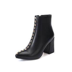 WARORWAR法国新品YG12-L02-18冬季欧美牛皮真皮粗跟高跟铆钉女士靴子切尔西靴短靴
