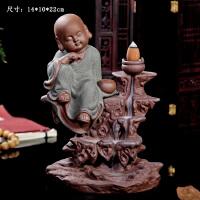 紫砂流烟倒流香炉创意佛堂摆件创意小和尚居室内禅意中式摆件礼品 倒流香 棋