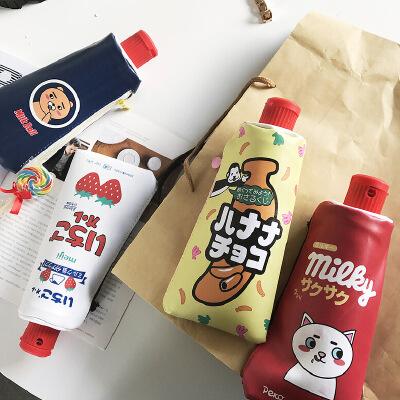 韩国可爱小清新卡通笔袋 创意学生大容量女生简约文具盒初中生