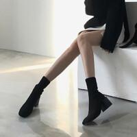 2018新款秋冬针织弹力袜子靴女中筒瘦瘦靴子百搭高跟踝靴粗跟短靴 黑色6cm高 单里