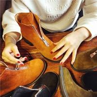 欧洲站秋季新款真皮短靴女前拉链马丁靴女鞋英伦风粗跟百搭女靴子