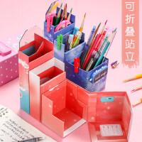 网红笔盒可变形可以变成笔筒式一体铅笔盒密码小学生男女学霸ins潮抖音创意个性搞怪多功能可折叠站立文具盒