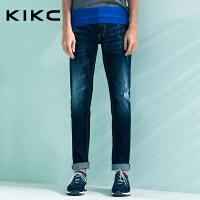 kikc男装 2017夏季新款破洞宽松薄款弹力百搭长牛仔裤男