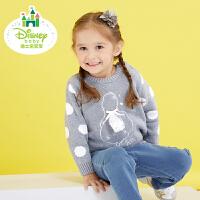 【2件3折到手价:61.5】迪士尼Disney童装女童毛衣长袖纯棉针织秋款新装宝宝套头衫173S941