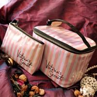 便携粉色条纹提洗漱包收纳化妆包大号大容量