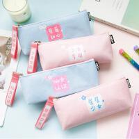 ins粉少女心铅笔袋韩国学生手提文具袋简约拉链帆布笔袋女 文具盒
