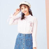 美特斯邦威chic衬衫女喇叭袖春季新款甜美条纹打底衬衫韩版