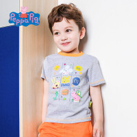 【满400减200】小猪佩奇童装男童夏装2018夏季新品短袖圆领纯棉T恤