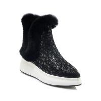 2018冬季新款兔毛加�q雪地靴女厚底女靴坡跟真皮短靴尖�^女靴子潮真皮 黑色 �\�M�U