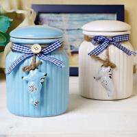 地中海彩色创意陶瓷罐糖罐厨房储物罐零食密封罐家居装饰品摆件