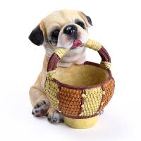 小狗摆件 可爱生肖狗家居装饰品客厅摆件 酒柜玄关实用桌面收纳桶