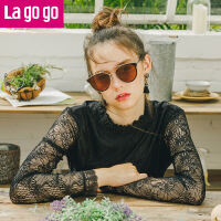 【秒杀价51.9】Lagogo/拉谷谷2019年冬季新款浪漫小立领木耳边蕾丝衫