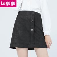 Lagogo/拉谷谷2019年冬季新款时尚拉链高腰半裙