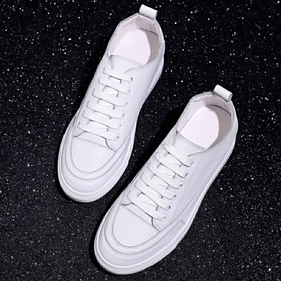 小白鞋女秋季2018新款百搭韩版厚底系带皮面松糕底白色内增高板鞋 白色(161)