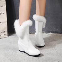 靴子女 短靴带毛秋冬平底带毛毛加绒加厚雪地靴内增高短靴子女坡跟棉鞋靴 TBP