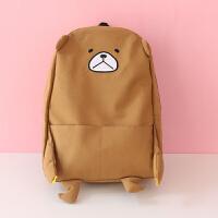 少女双肩包女帆布包女孩学生书包可爱萌日系背包书包女学生大容量 棕色 大熊