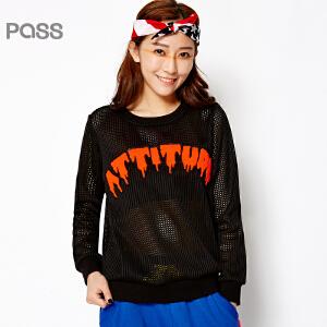 PASS原创潮牌春装新款 透视潮流纱网网格性感T恤女6610112001