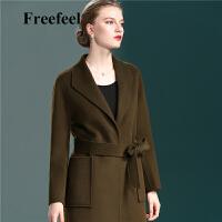 Freefeel2017秋冬新款羊绒大衣中长款女装双面绒上衣时尚修身外套1865