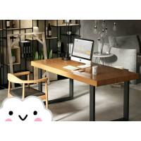 美式铁艺实木台式电脑桌会议桌书房书桌椅组合实木简约办公桌 桌220*90*75CM 木8CM