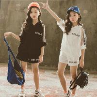 女童时尚运动套装黑白小学生夏装中大童儿童装休闲短袖短裤两件套