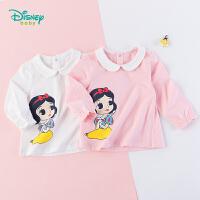 迪士尼Disney童装女孩娃娃领长袖上衣纯棉秋季新款白雪公主印花T恤193S1160