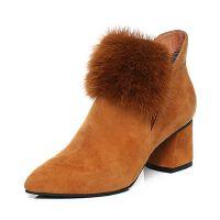 Senda/森达2017冬季新款毛绒女短靴尖头粗高跟切尔西靴216-2DD7