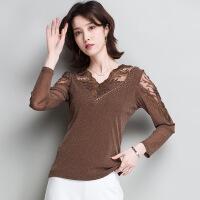针织蕾丝上衣女2018春季新款韩版纯色V领套头长袖短款性感打底衫