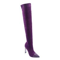 过膝长靴女高跟长筒粗跟显瘦长筒弹力靴秋冬欧美2018新款尖头女靴真皮