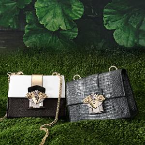 toutou2017秋季新款包包女个性韩版百搭链条小方包锁扣盒子包单肩斜挎包