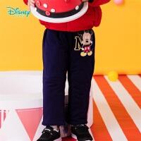 迪士尼Disney童装 男宝宝夹棉保暖长裤冬季新品米老鼠印花休闲裤儿童裤子194K848