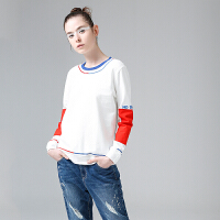 【春节不打烊,2件3折价:88.5元】初语拼接t恤女2019秋季新款圆领撞色刺绣字母贴布米白色长袖上衣