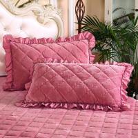 法兰绒加厚夹棉枕套一对装珊瑚绒单人素色法莱绒枕头套