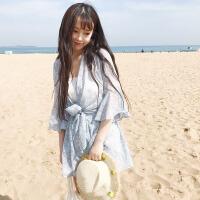 韩版时尚休闲套装夏装女装碎花防晒衣外套+雪纺裤+小吊带三件套潮 均码