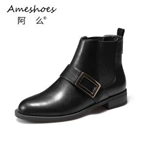 阿么秋冬韩版圆头简约英伦风粗低跟切尔西短靴女靴