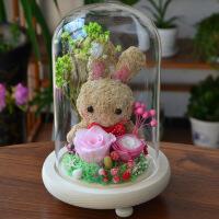 永生花礼盒玫瑰干花小熊玻璃罩情人节创意礼品圣诞节装饰