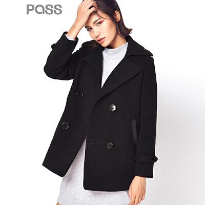【不退不换】PASS潮牌秋装 大翻领宽松长袖茧型短款毛呢大衣6631224004