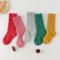 儿童袜子堆堆袜韩国春秋冬款男童小孩公主女童中长筒宝宝袜子yly 糖果色系 5双装纯色款