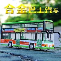 公交车模型合金小汽车仿真回力声光双层巴士公共汽车玩具男孩