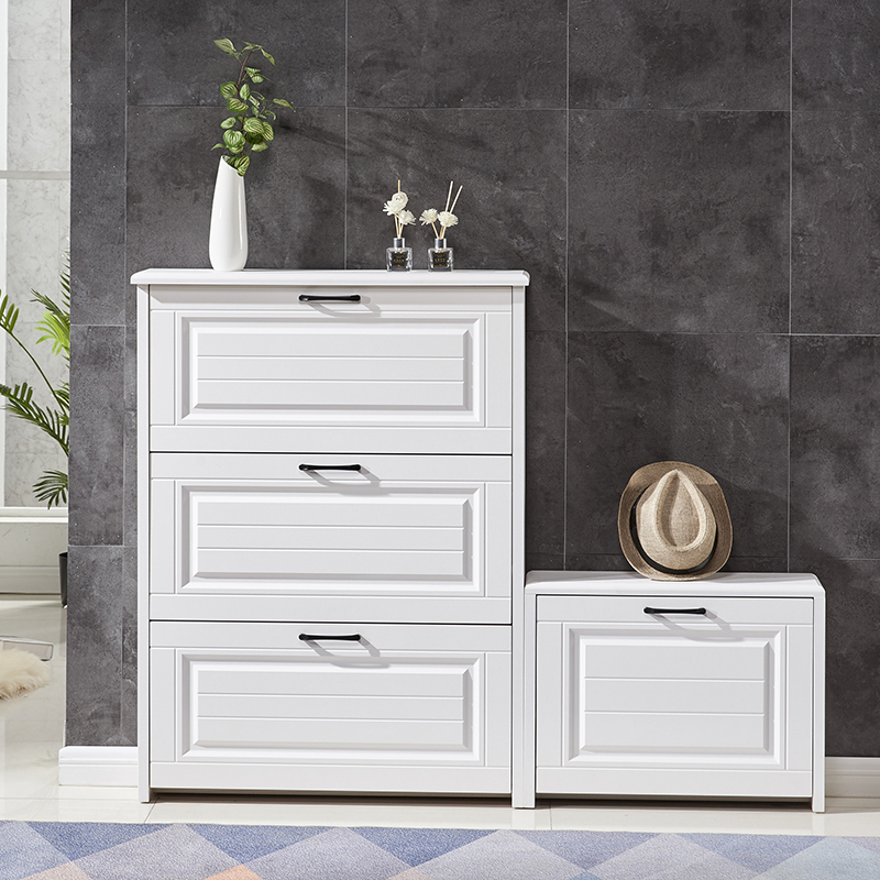 超薄鞋柜门口简约现代白色北欧翻斗玄关柜大容量换鞋凳家用门厅柜