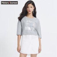美特斯邦威T恤女夏装新款女韩版宽松时尚拼接短袖T恤713783