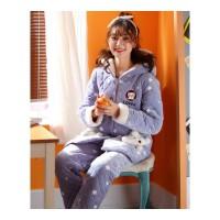 冬季女士珊瑚绒夹棉睡衣女保暖三层加厚加绒法兰绒开衫家居服套装 J801
