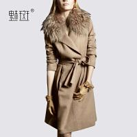 【新年狂欢到手价:599.5】魅斑2019秋冬新款时尚大毛领羊毛呢外套欧美修身呢子大衣女中长款