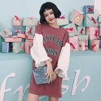 字母印花中长款T恤女春装2018新款韩版百搭bf宽松套头泡泡袖上衣