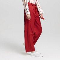 【2件2.5折到手价:142.25,2月19日0点开抢】纯羊毛MECITY女装冬季红色系带系带宽松chic休闲长裤直筒