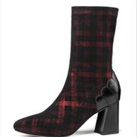 靴子女2018新款时尚格子尖头弹力靴女高跟中筒靴粗跟秋冬大码女靴