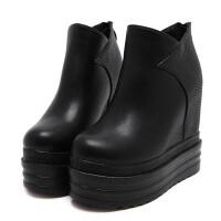 2018秋冬新款韩版厚底坡跟短靴14CM跟松糕女鞋内增高裸靴单鞋